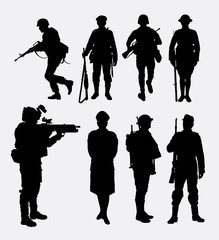 Soldier, army and police silhouette 2. Good use for symbol, logo, web icon, mascot, sign, or any design you want.