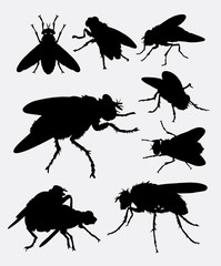 Flies insect animal silhouette. Good use for symbol, logo, web icon, mascot, sign, sticker design, or any design you want.