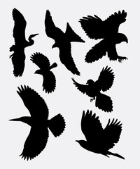 Bird flying silhouette 1. good use for symbol, logo, mascot, web icon, sticker, or any design you want.