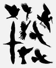 Bird flying poultry animal silhouette 2. good use for symbol, logo web icon, mascot, sticker, or any design you want. Easy to use.