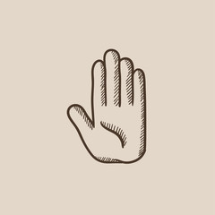 Medical glove sketch icon.