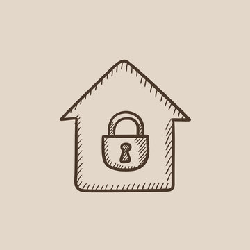 House with closed lock sketch icon.