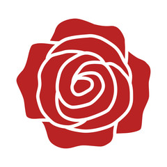 Red rose flower or romantic rose flat icon for apps and websites