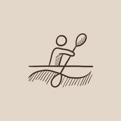 Man kayaking sketch icon.