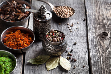 Spices at the table