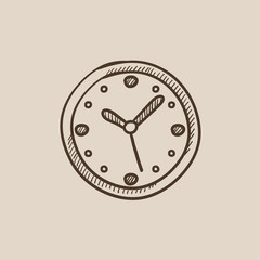Wall clock sketch icon.