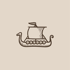 Old ship sketch icon.