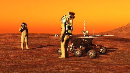 The astronaut and a mars rover