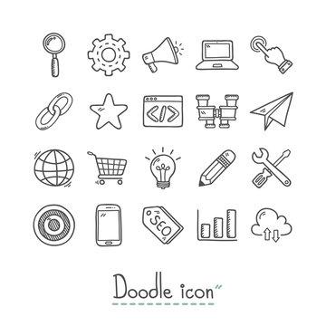 SEO Icon. Doodles Icon. Hand drawn Icon.
