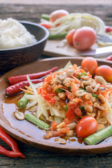 Famous Thai food, papaya salad ,somtum