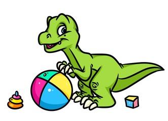 Little Dinosaur plays toy ball cartoon illustration isolated image animal character