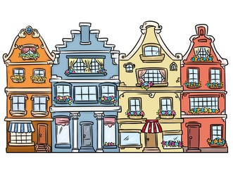 City street architecture Europe houses cartoon illustration