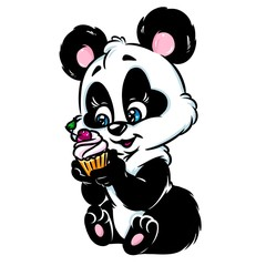 Little Panda cake animal cartoon illustration