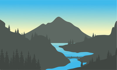 River in the mountain of silhouette