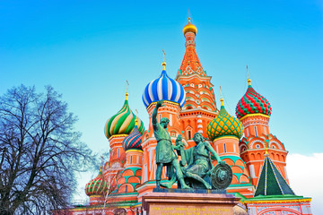 St. Basil's cathedral and monument at dusk on Red Square in Moscow, Russia
