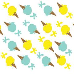 Seamless of lemon ice cream and blue mint ice cream with splash