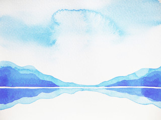 abstract mountain hill, sky landscape watercolor painting