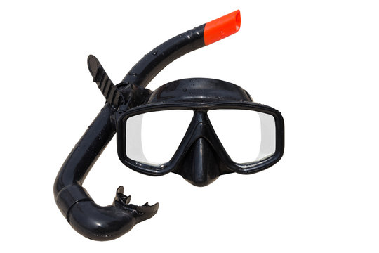Diving mask and snorkel on white background
