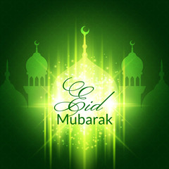 Eid Mubarak Greeting Card with mosque