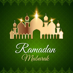 Ramadan Mubarak Greeting Card with mosque