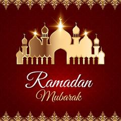 Ramadan Mubarak Greeting Card with mosque