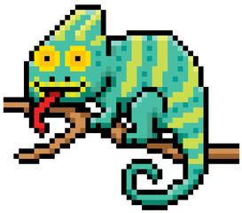Vector illustration of Cartoon Chameleon - Pixel design