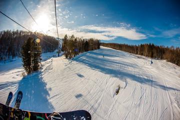 the lift to the ski resort