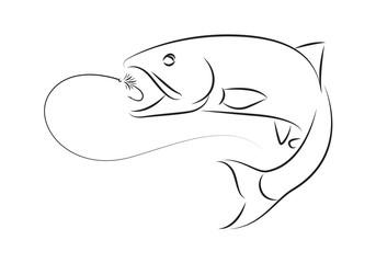 illustration fishing, vector