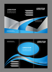 Template design of blue trifold brochure with polygons. Editable and light vector with places for photos. Proportionally A4