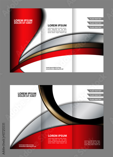 Vector Red And Black Tri Fold Brochure Design Template With Abstract