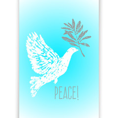 Ink hand drawn dove with olive branch illustration
