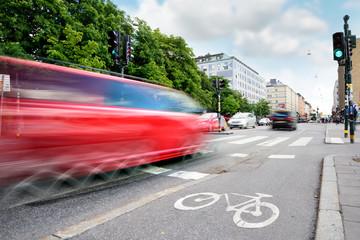 Fototapete - Motion blurred traffic