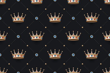 Seamless gold pattern with king crown with diamond on a dark black background. Vector Illustration
