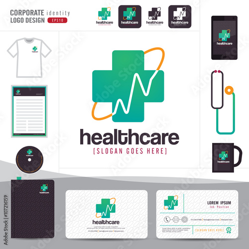 Logo design medical healthcare or hospital and business card logo design medical healthcare or hospital and business card template with clean and modern flat pattern reheart Image collections