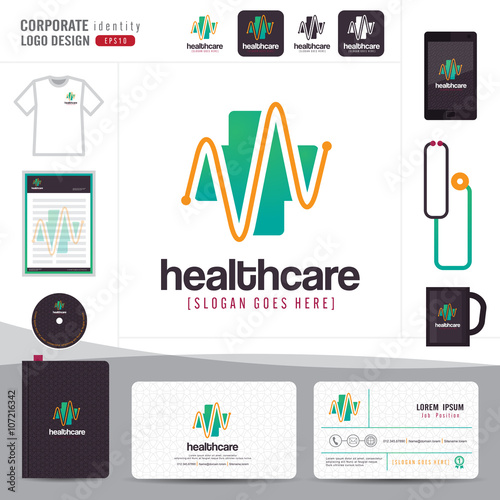 Logo design medical healthcare or hospital and business card logo design medical healthcare or hospital and business card template with clean and modern flat patterncorporate identityvector illustrator stock image reheart Images