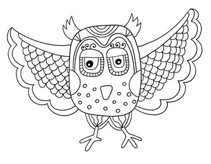 black and white owl line drawing in doodle childish style