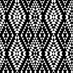Black and white aztec striped ornaments geometric ethnic seamless pattern, vector