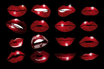 Set of 16 glamour lips, with vinous lipstick colors. Vector illustration. element. Woman's lip gestures set. Girl mouths close up with red lipstick makeup expressing different emotions. EPS10 vector.