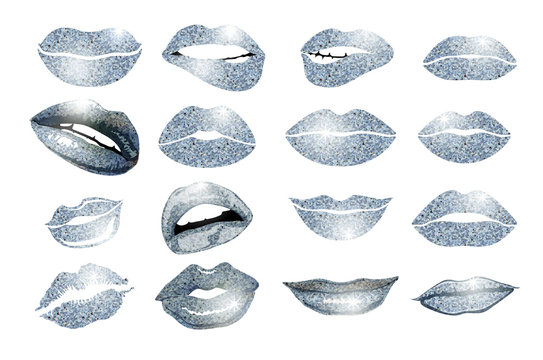 Set of 16 glamour lips, with silver lipstick colors. Vector illustration. element. Woman's lip gestures set. Girl mouths close up with lips lipstick makeup expressing different emotions. EPS10 vector.