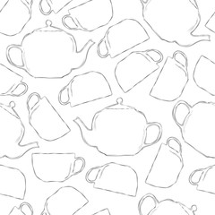 Seamless pattern of tea cups and teapots in black-white color.