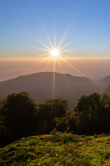 View of Sun and mountain in the morning time. - (Selective focus