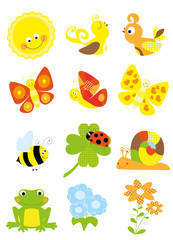 collection of summer/ spring cartoon nature elements - set of vectors for children