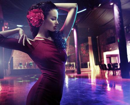 Closeup portrait of a woman dancing flamenco