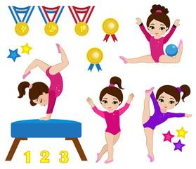 Gymnastics cute girls set. Vector illustration.