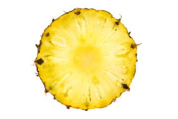 round slice of ripe tasty pineapple isolated on white