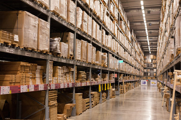 Warehouse, paper and wooden box