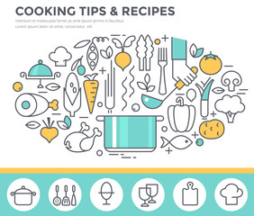 Cooking tips and recipes concept illustration, thin line flat design