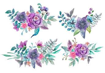 Watercolor floral and nature elements