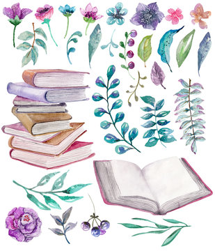 Watercolor floral and nature elements with beautiful old books