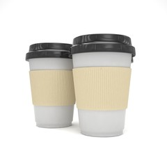Three paper coffee cups. 3d rendering.